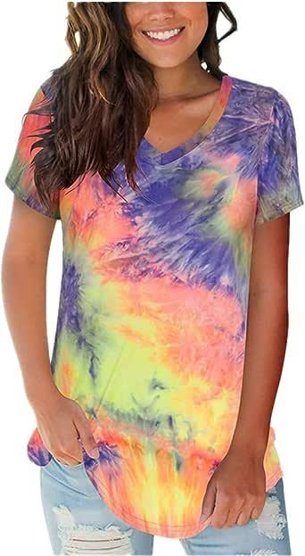 x8jdieu3 Summer Street Cuello De Pico Suelto Cuello Alto Estampado Tie-Dye Camiseta De Manga Corta Tops De Mujer: Amazon.es: Ropa y accesorios