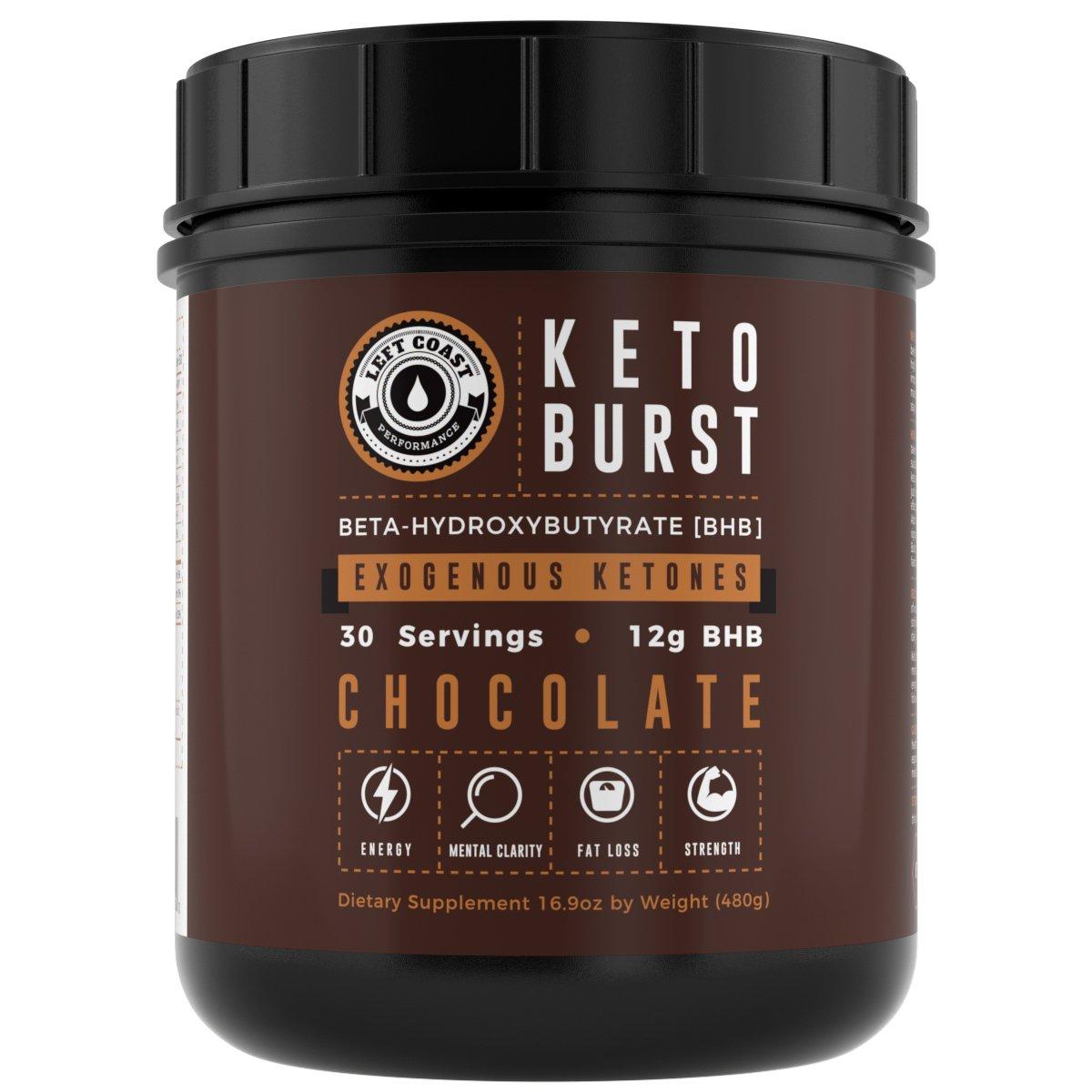 Keto Burst - Beta Hydroxybutyrate (BHB) Salt Ketone Supplement - Double Size 17 Oz (30 Servings) Chocolate - Exogenous Ketones Powder - Ca, Na & Magnesium BHB Salts. Left Coast Performance (1.06 lbs)
