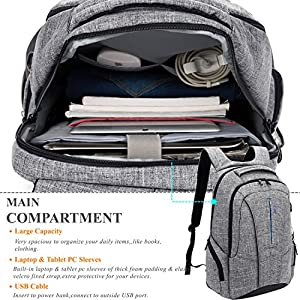 "DTBG 17 Inch Laptop Backpack with USB Charging Port Anti-theft Pockets,Stylish Travel Business Backpack for Women / Men,Slim College Daypack School Bag Computer Backpack for Laptops Up to 17.3"",Gray"