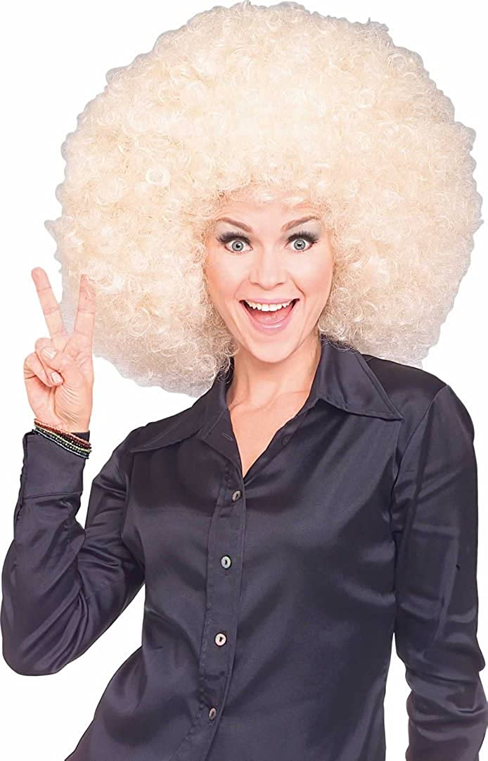 70s Headbands, Wigs, Hair Accessories Super Size Blond Afro Wig $8.75 AT vintagedancer.com
