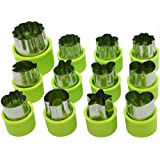 Cofe-BY Vegetable Cutters Shapes Set (12Pc) for Kids, Cookie Cutter Cheese Presses, Mini Flower Star Cartoon Animals Fruit Mold Heart Stamps Decorating Tools for Food Making Cute Cutouts Cooking Tips