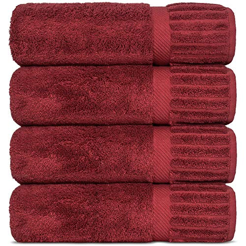 Luxury Hotel-Spa Turkish Cotton 4-Piece Bath Towels (Cranberry)