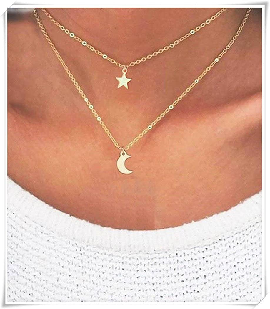 93290842a6d63 Amazon.com: Layered Necklace, Star, Moon Necklace Dainty Choker ...