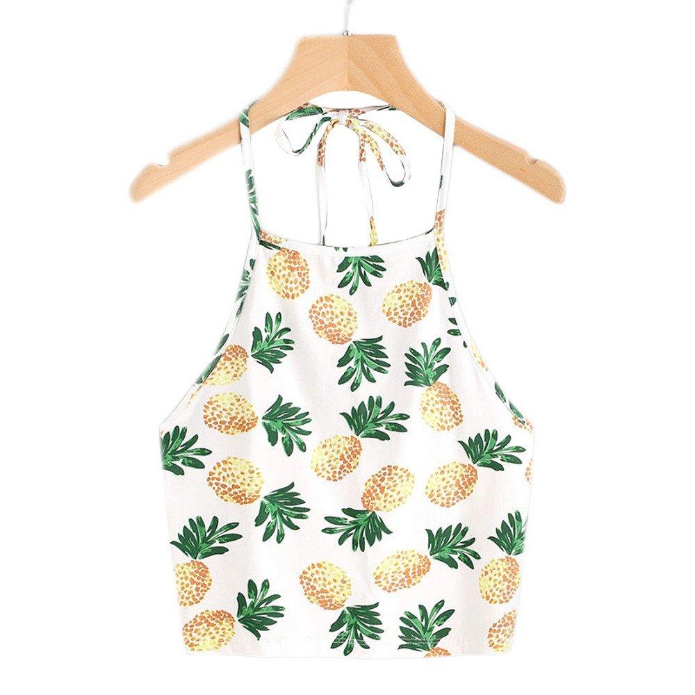Women's Self Tie Back V Neck Crop Cami Top Camisole Pineapple Print Tank Short Halter Shoulder Strap Vest
