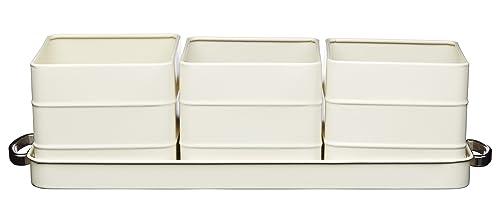 KitchenCraft Living Nostalgia Indoor Metal Herb Pots and Tray Set, 40 x 12 x 10.5 cm - Antique Cream