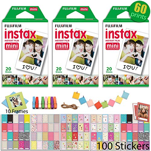 Fujifilm INSTAX Mini Instant Film 3 x Twin Pack (White) 60 Prints with 100 Frame Stickers and 10 Hanging Frames