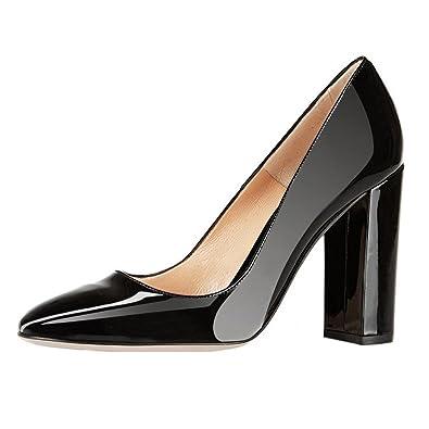 EKS Damen Elegante spitze Zehen-Pumps Chunky Heels Patent Schuhe High Heels Blockabsatz EU 35-46