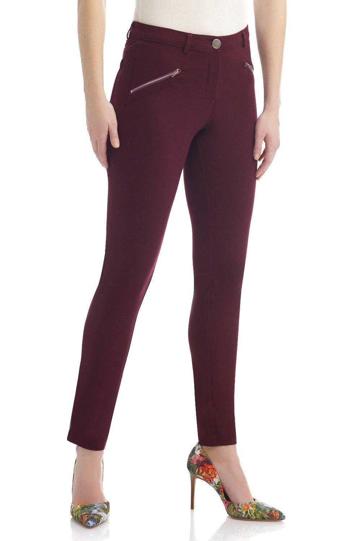 Rekucci Women's Hi-Density Knit 5 Pocket Modern Skinny Pants w/Zippers (Large,Burgundy)