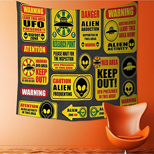 Nalahomeqq Outer Space Decor Custom tapestry by Warning Ufo Signs with Alien Faces Heads Galactic Paranormal Activity Design Fabric drawing room Decor Yellow 40 W x 60 L INCH by Nalahomeqq
