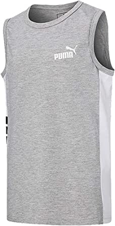 PUMA Girl's Logo Tank Top; Grey/White/Black (XL, 18-20)