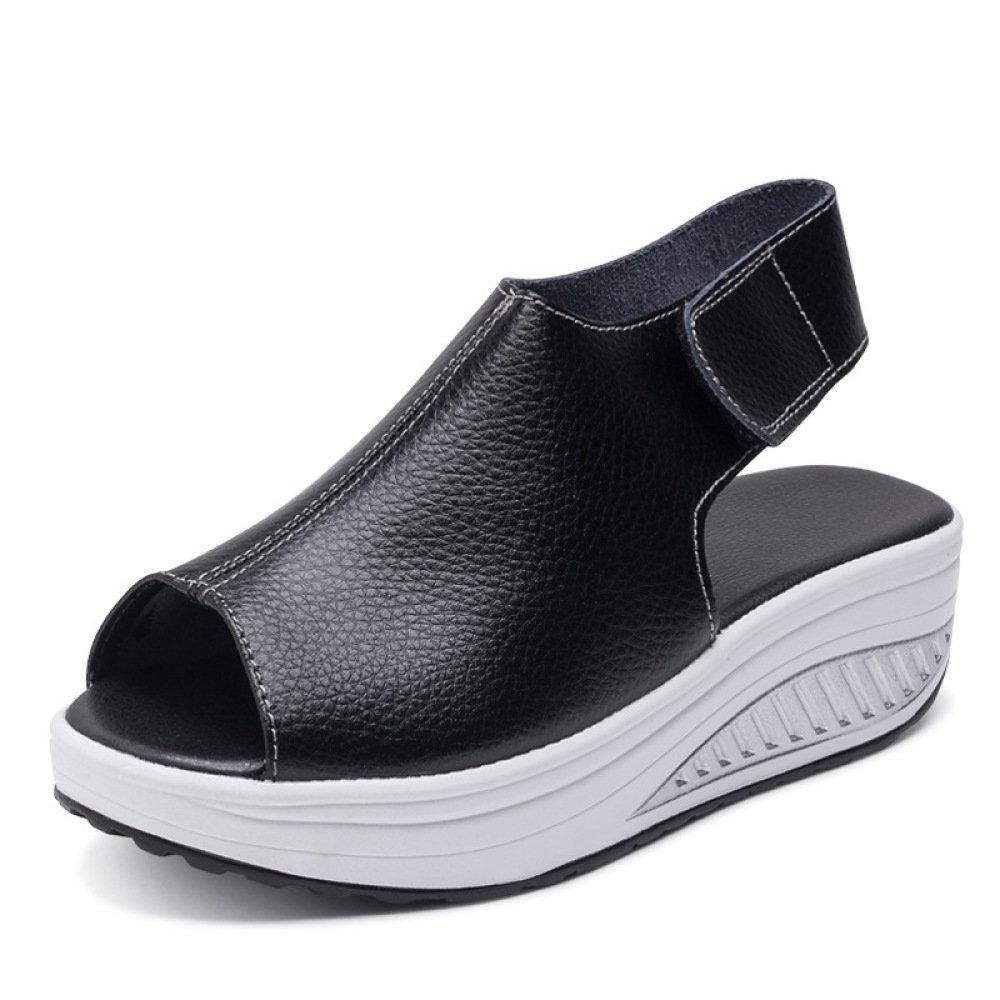 Ximu Sommer Sandalen Weibliche Keilabsatz Fisch Mund Dicken Boden angehoben Sandalen Schuhe 5cm  35 EU|Black