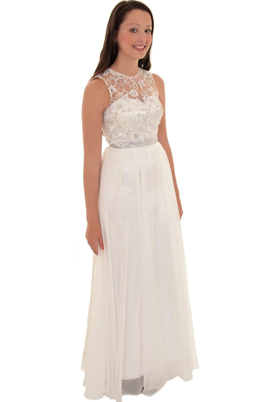 ZAFIRO Boutique Sin Mangas Para Mujer Floral pedrería Malla boda de la gasa maxi vestido de fiesta vestido: Amazon.es: Ropa y accesorios
