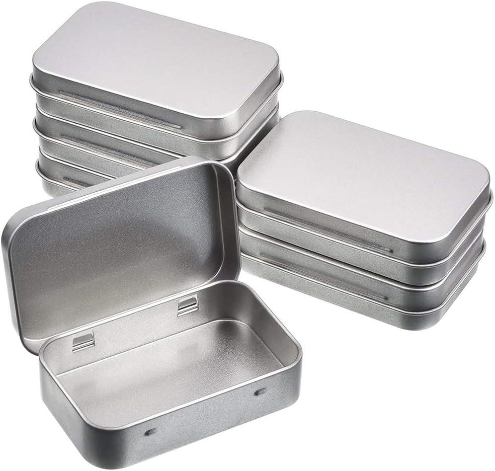 6 unidades Mini portátil de cajas rectangulares, contenedores articulados, pequeño kit de almacenamiento de metal, caja de Tin, organizador para Nail Art Kits joyas camping supervivencia 95 x 62 x 20 mm: