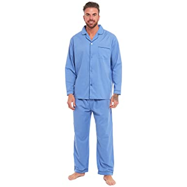 85d90de5ce7957 Mens Traditional Pyjamas 2 Piece Set Classic Style Plain Poly Cotton Pjs  Nightwear Lounge Wear Sleepwear