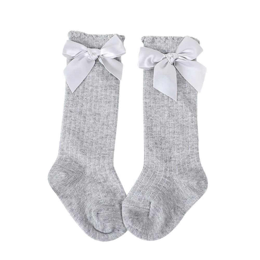 ❤️ Mealeaf ❤️ New Kids Toddlers Girls Big Bow Knee High Long Soft Cotton Lace Baby Socks Kids(Gray ,S)
