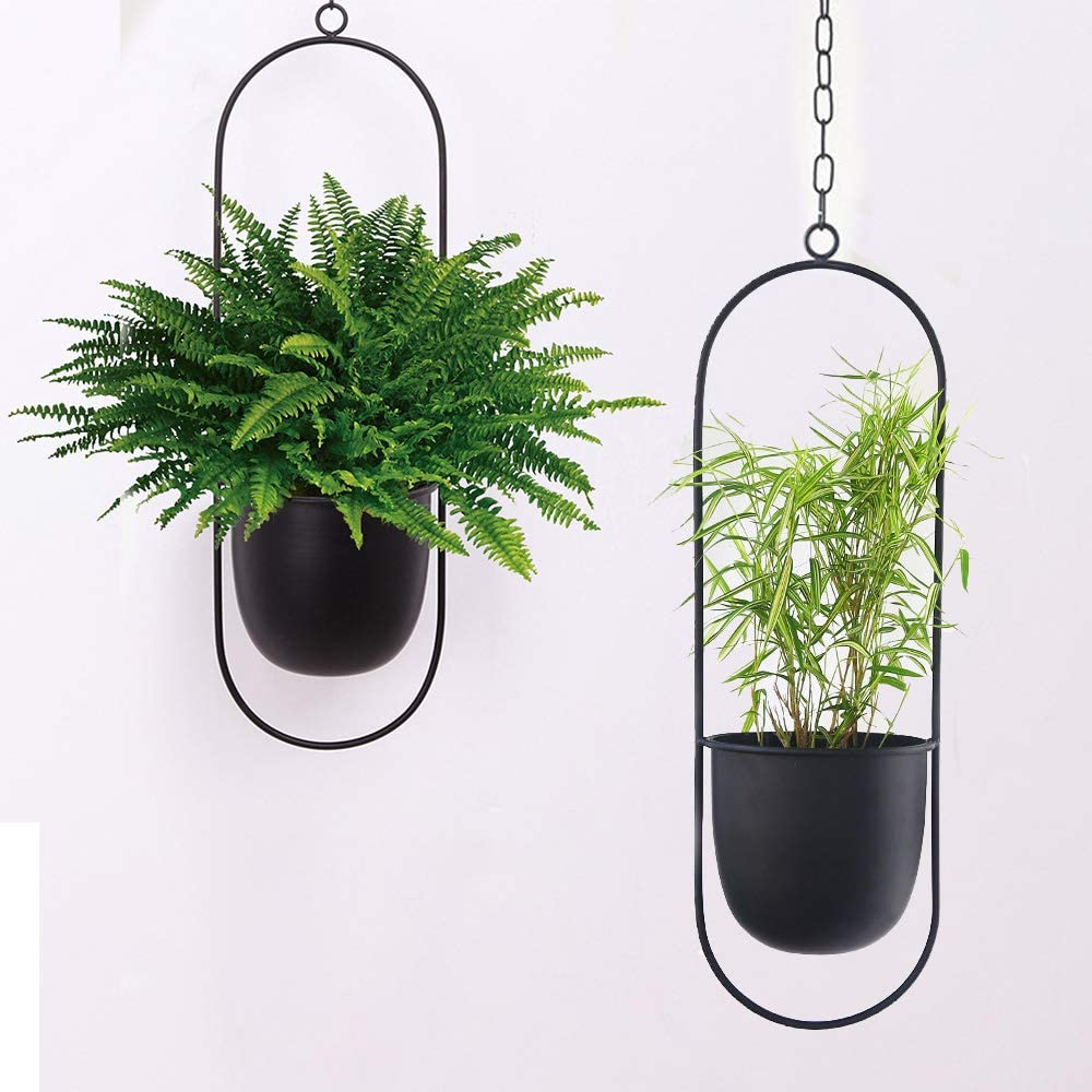 Sinolodo Boho Wall Hanging Planter,Metal Hanging Flower Pots,Window Hanging Plant Holder for Indoor Outdoor Plants Home Office Decor(2pcs-Black Oval)