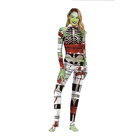 lkouq Imprimir Esqueleto Zombie Disfraz Mono Disfraces De ...