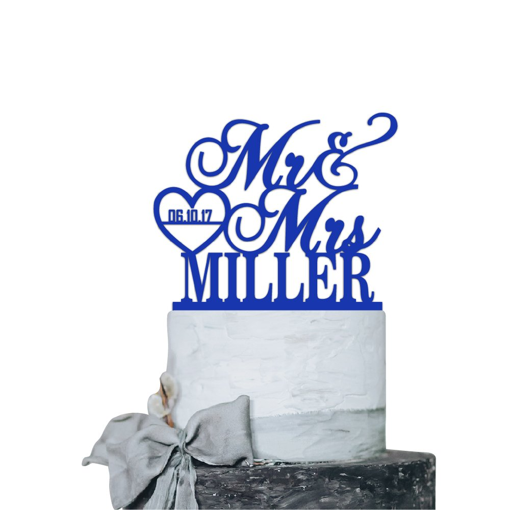 P Lab Personalized Cake Topper Mr. Mrs. Last Name Custom Date 2 Wedding Cake Topper Acrylic Decoration for Special Event Royal Blue