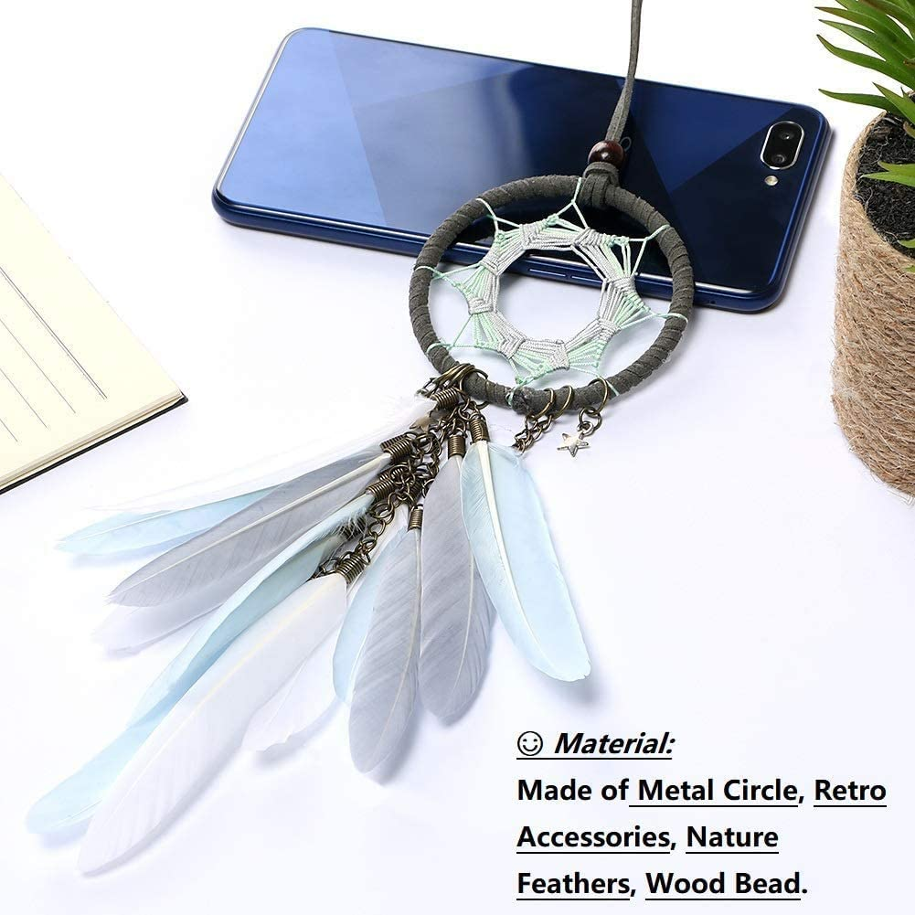 adornos artesanales Stay Gent Atrapasue/ños hecho a mano para colgar en la pared del dormitorio estrella y plumas azul
