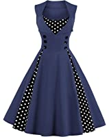 Killreal Women's Polka Dot Retro Vintage Style Cocktail Party Swing Dress