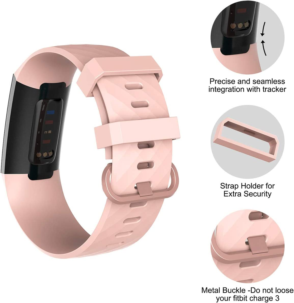 Replacement Wristbands for Women Men Small Large Velavior Waterproof Bands for Fitbit Charge 3 Charge3 SE