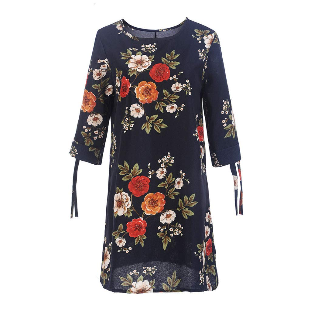 BB67 Womens Floral Print Bowknot Sleeves Cocktail Mini Dress Casual Party Dress Navy