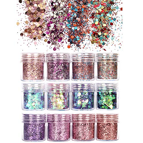 (GCOA 12 Boxes Holographic Chunky Glitter, Nail Sequins Iridescent Flakes Ultra-thin Tips Colorful Mixed Paillette Festival Glitter powder For Nail Face Body Hair Makeup,Glitter Nail Decorations)