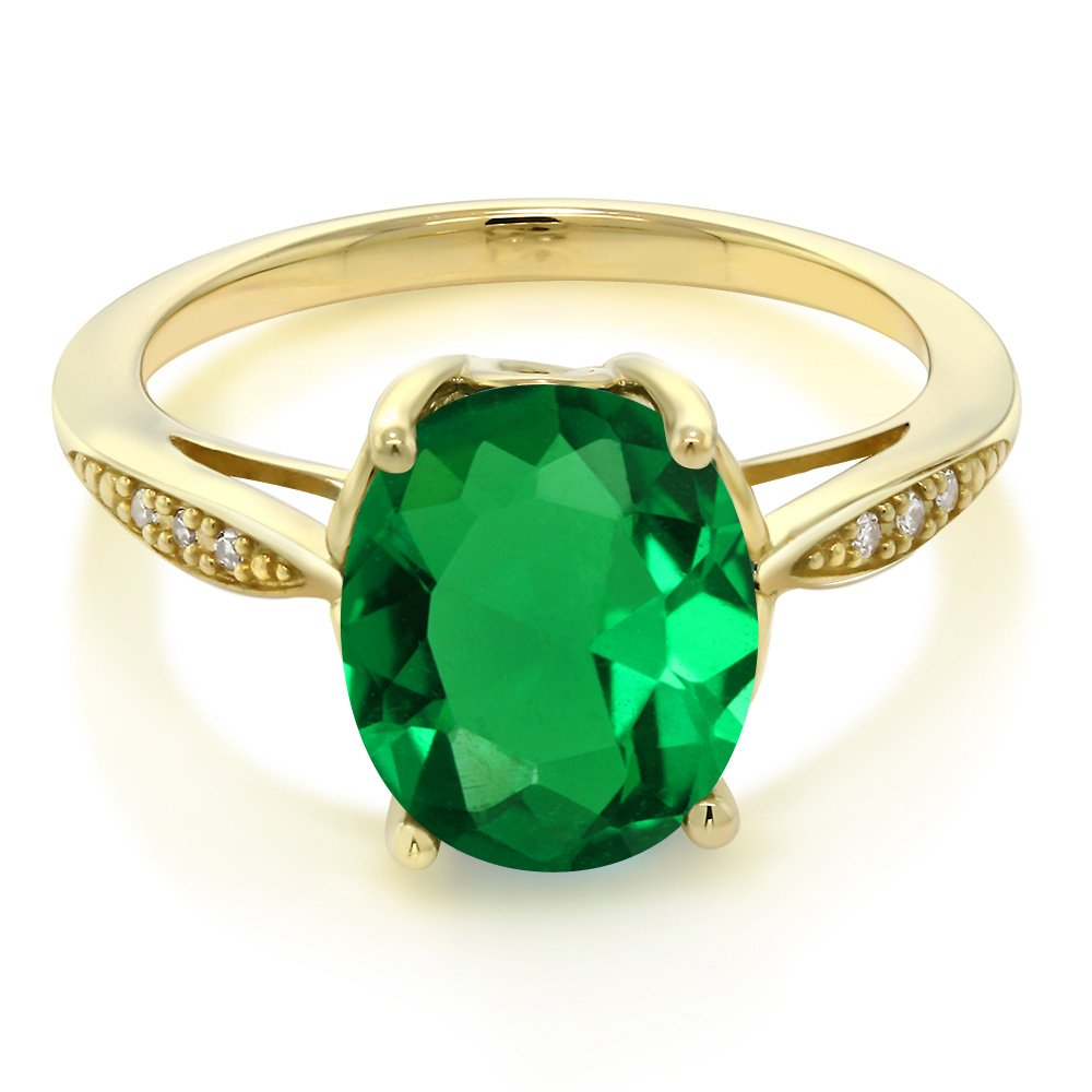 Gem Stone King 14K Yellow Gold Green Simulated Emerald and Diamond Ring 2.24 Ct Oval Available 5,6,7,8,9