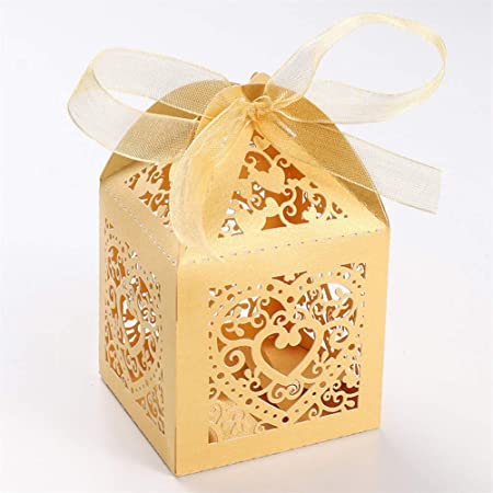 UNHO 25 Piezas Caja Papel para Boda Caja de Regalo para Caramelos Bombones Dulces Galletas Recuerdos Ideal para Boda Cumpleaños Fiesta Comunión Bautizo Color Amarillo: Amazon.es: Hogar