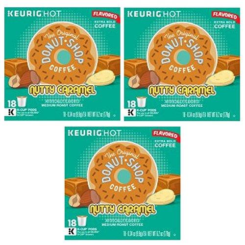 The Original Donut Shop Nutty Caramel Keurig Single-Serve K-Cup Pods, Medium Roast Coffee, 18 Count – Pack of 3