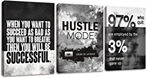 """Wall Art Motivational Posters Inspirational Wall Decor Motivational Canvas Wall Art Success Hustle Poster Entrepreneur Quote 3 Pieces Painting Prints Artwork for Home Decor Wooden Framed(36""""Wx16""""H)"""