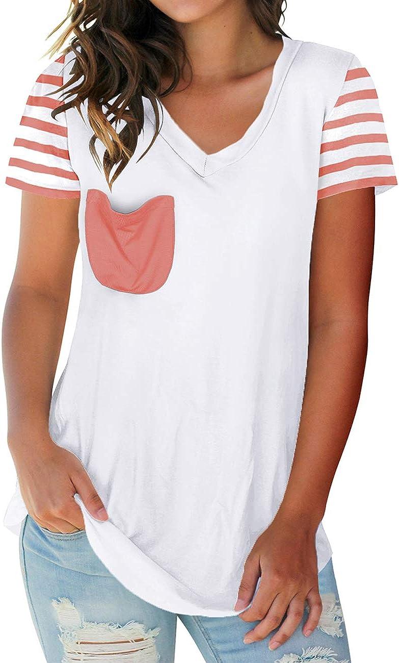 NIASHOT Women's T-Shirt Short Sleeve Floral Tees V Neck Criss Cross Summer Tops