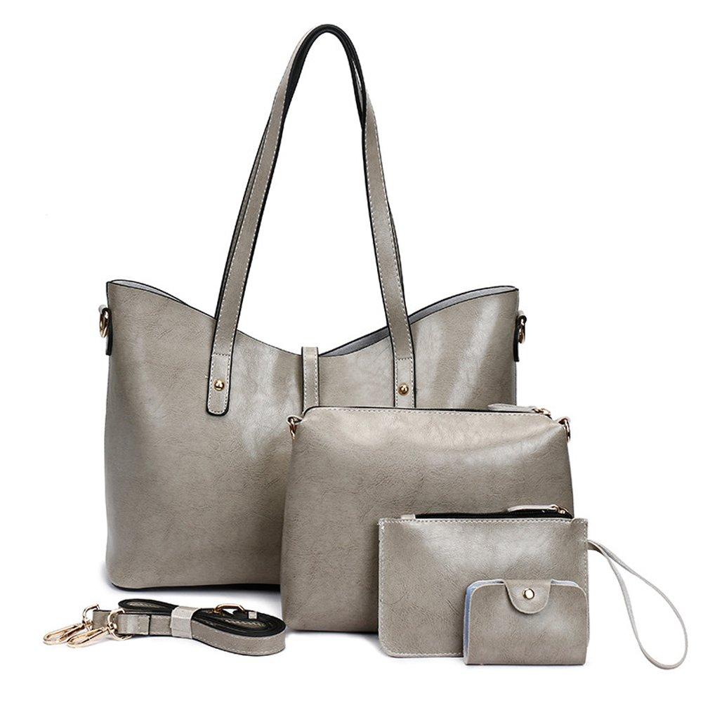 Leather Tote Bag for Women Purses Set Large Grey Shoulder Bags 4pcs Top Handle Satchel Handbags(Grey-2)