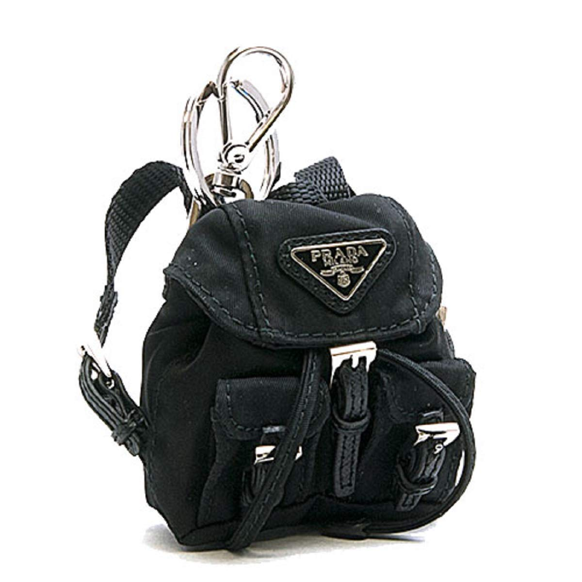Prada Steel key ring with black nylon iconic prada backpack coin purse Key Chain 1TT010