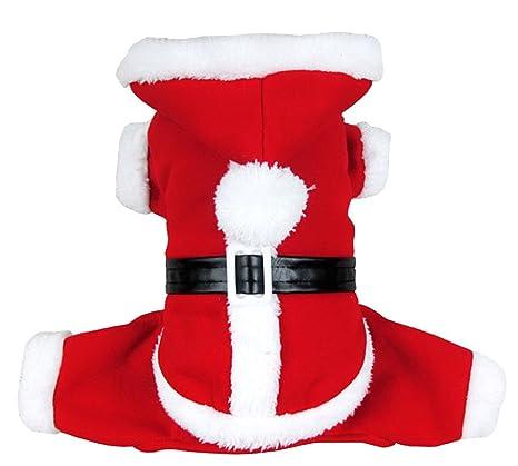smalllee Lucky Tienda Gato de Mascota Perro Ropa Disfraz de Navidad de Papá Noel Sudadera con Capucha Perchero de Pared de Terciopelo Mono pequeño ...
