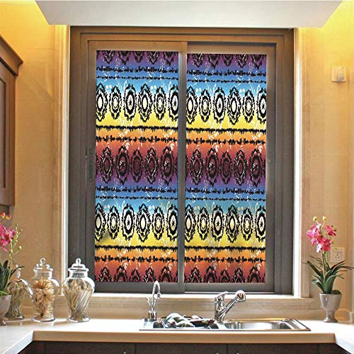 Batik Decor 3D No Glue Static Decorative Privacy Window Films, Hippie Regular Rotary Circles on Rainbow Color Striped Hazy Grungy Artisan Decor,17.7