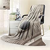 YOYI-HOME Digital Printing Duplex Printed Blanket Spa Caribbean White Sand in Shaped Like Waves Near a Grey Zen Stones Artwork Green and White Summer Quilt Comforter /W69 x H47