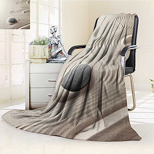 YOYI-HOME Throw Duplex Printed Blanket Spa Caribbean White Sand in Shaped Like Waves Near a Grey Zen Stones Artwork Green and White Warm Microfiber All Season Blanket for Bed or Couch /W59 x H86.5 by YOYI-HOME