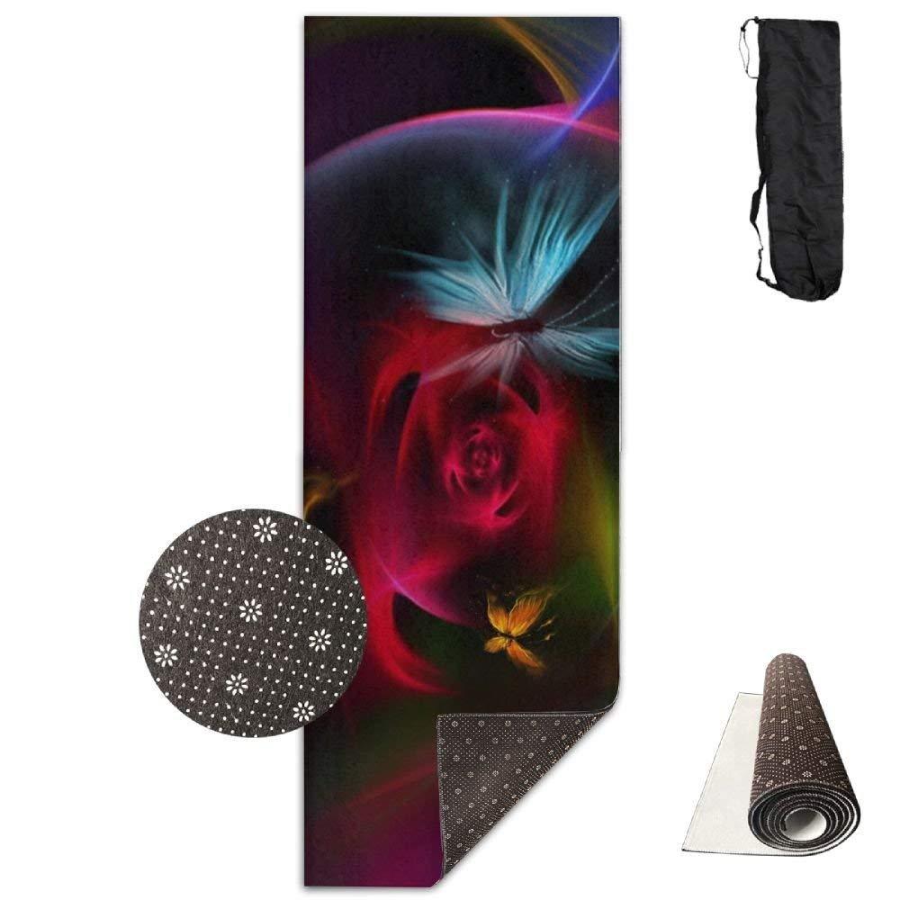 Beautiful Burning Butterfly Flowers Deluxe,Yoga Mat Aerobic Exercise Pilates Anti-Slip Gymnastics Mats