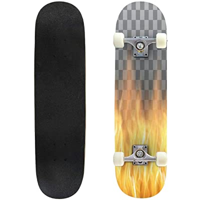 Classic Concave Skateboard red Flames, fire Transparent Vector Template Longboard Maple Deck Extreme Sports and Outdoors Double Kick Trick for Beginners and Professionals : Sports & Outdoors