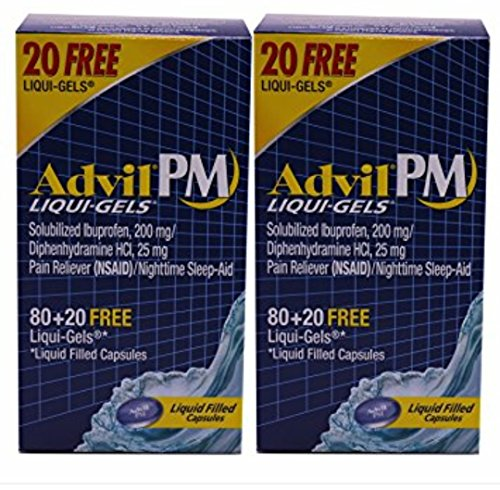 Advil PM Liqui-Gels Liquid Filled Capsules, 100 count, (Pack of 2)