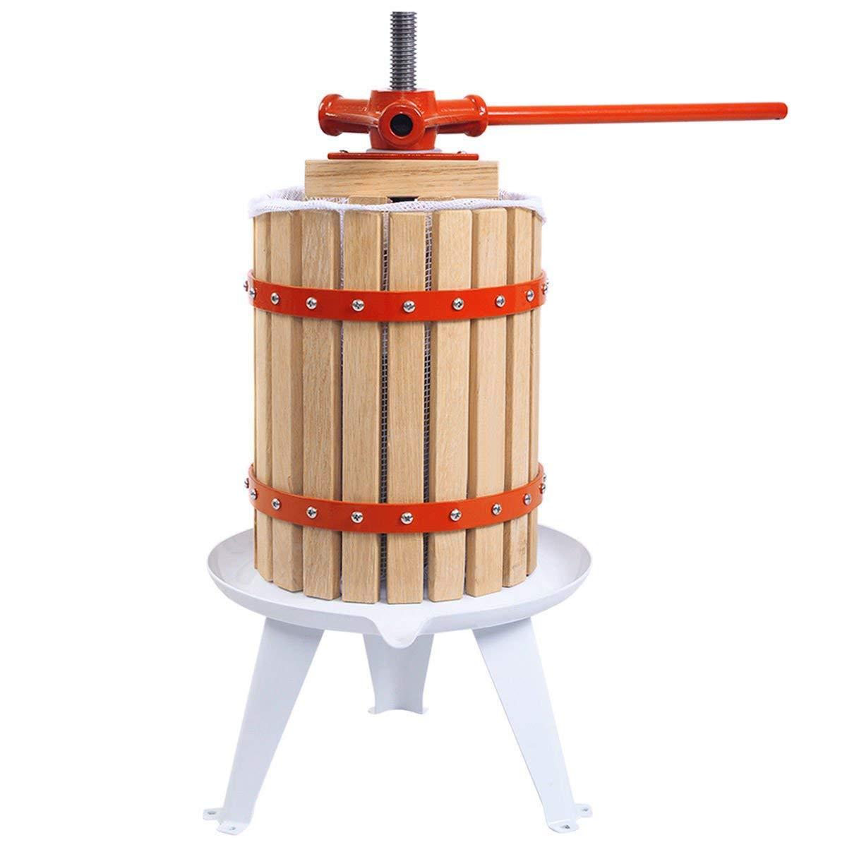 Costzon Fruit Wine Press, 1.6 Gallon /6 Liter Solid Wood Basket, Cider Apple Grape Crusher for Kitchen, Juice Maker