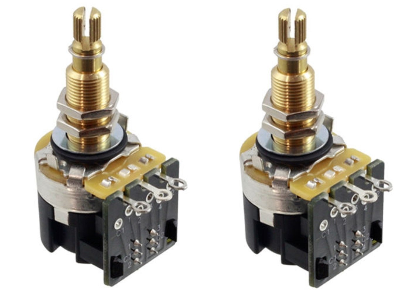 Cts 500k Push Pull Long Shaft Audio Taper Potentiometers Pot Wiring Diagram Pair 2x Musical Instruments