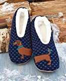 The Big Discount Sherpa Womens Blue Wiener Dog Slippers/Dachsund Slippers, Navy Blue, Size 5.0