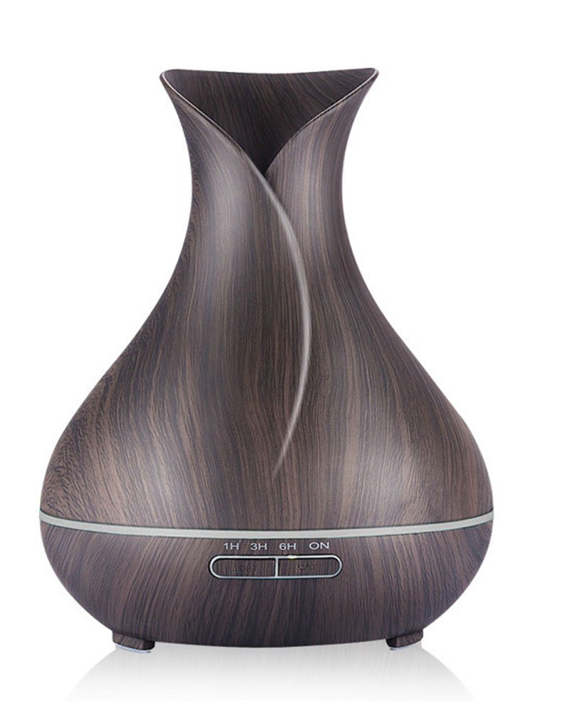 Shindn 400ml Cool Mist Humidifier Ultrasonic Aroma Essential Oil Diffuser for Office Home Bedroom Living Room Study Yoga Spa (Dark vase)