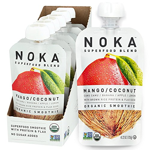 - NOKA Superfood Pouches (Mango Coconut) | 100% Organic Fruit And Veggie Smoothie Squeeze Packs | No Added Sugar, Non GMO, Gluten Free, Vegan, 4g Plant Protein | 4.2oz Each - Pack of 6