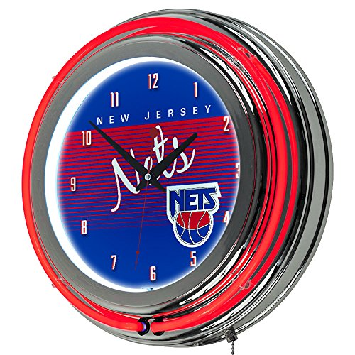 NBA New Jersey Nets Chrome Neon Clock, One Size, ()