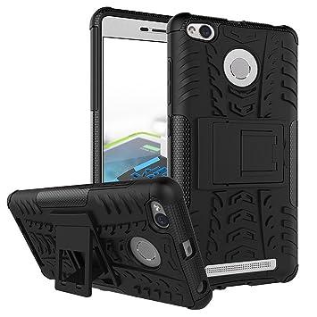 dwaybox Xiaomi Redmi 3 caso híbrido Rugged Heavy Duty Armor carcasa rígida para Xiaomi Redmi 3, función atril, con función atril, plástico, negro, ...