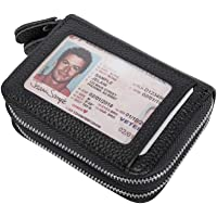 VIVOCASE Leather Credit Card Wallet RFID Credit Card Holder Zipper Window Card Wallet