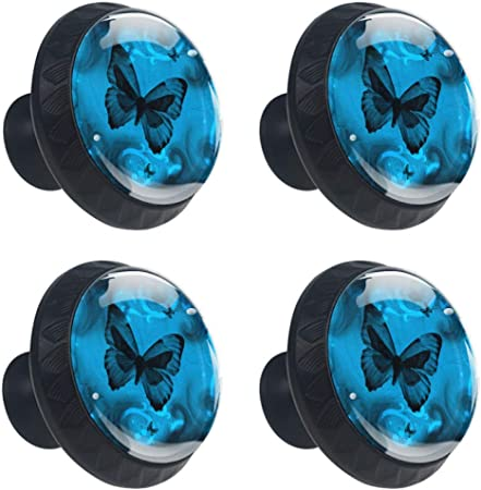 Blue Butterfly Cabinet Knobs 4 Pieces Drawer Handle Scratch Proof
